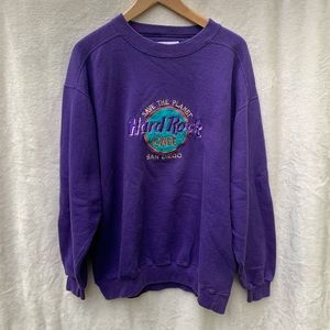 Vintage Purple Crew Neck Hard Rock Cafe Sweatshirt